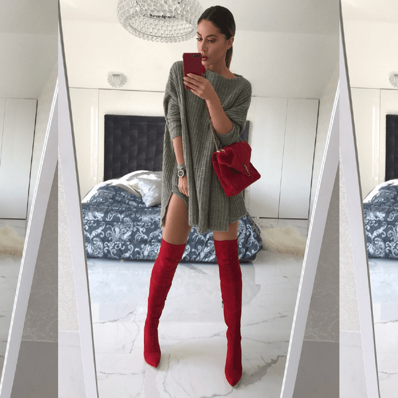 Gianna Red Suede Boots