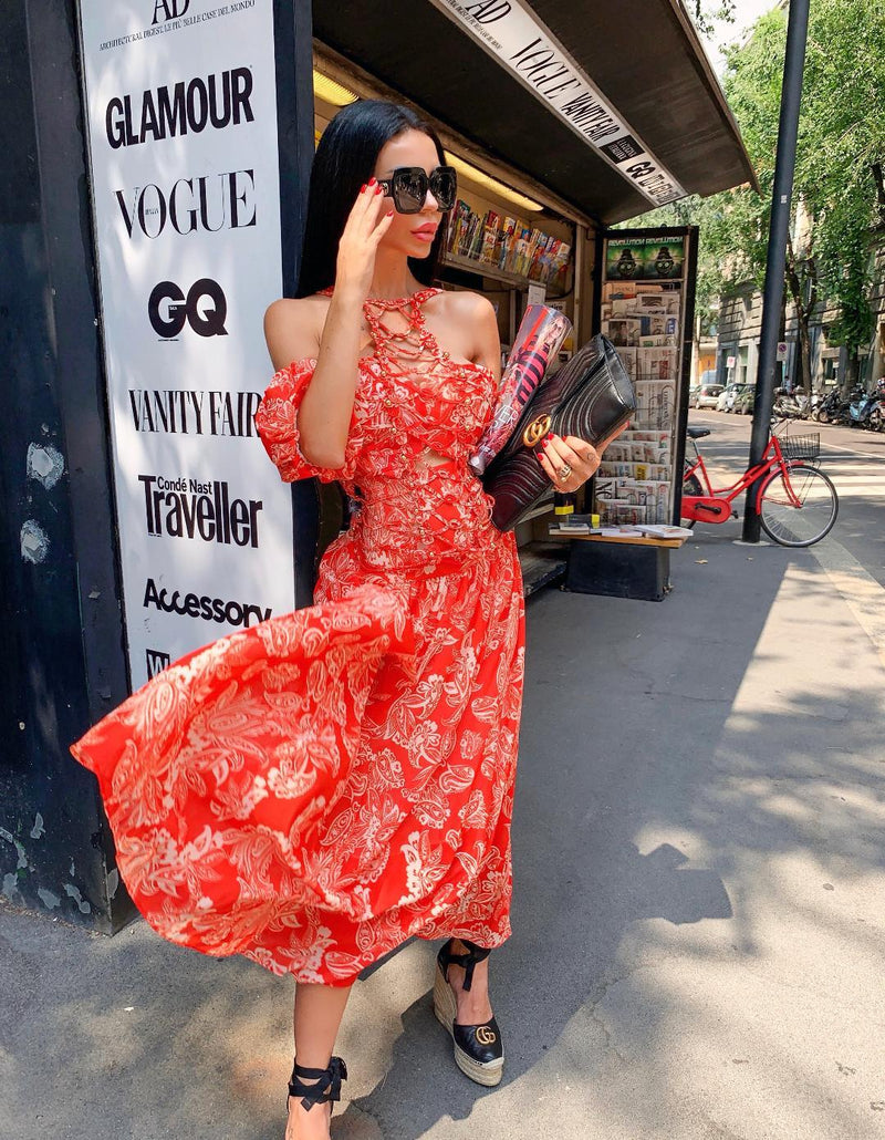Zala Red Maxi Dress