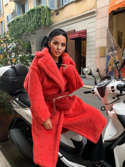 Jasmine Red Faux Fur Coat - Limited Stock