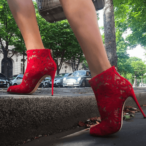Arlette Red Lace Booties