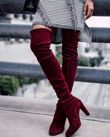 Jorja Wine Suede Leather Boots