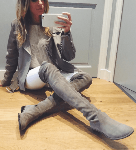 Jorja Grey Suede Leather Flat Boots