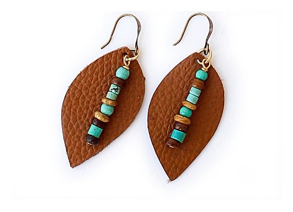 (Discontinued) Leather and Turquoise Bead Earrings