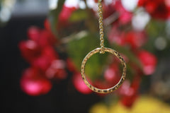 Gold Collection Hammered Circle Necklace