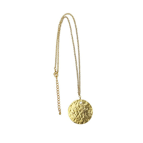 Gold Collection Hammered Disc Necklace