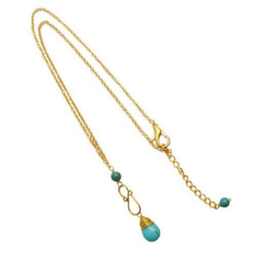 Gold Collection Turquoise Pendant Necklace