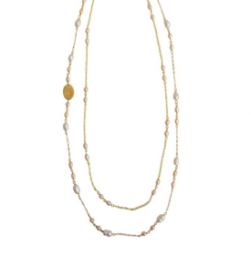 Gold Collection Rose and White Pearl Necklace