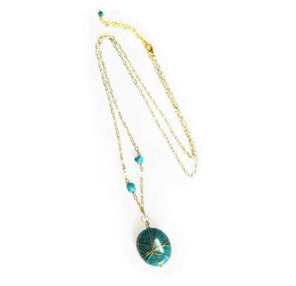 Gold Collection Wrapped Turquoise Pendant Necklace