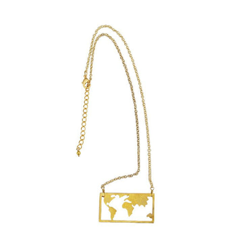Gold Collection Map Necklace