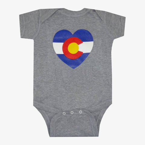 Aksels Baby Colorado Flag Heart Onesie | Grey | Tees | $18