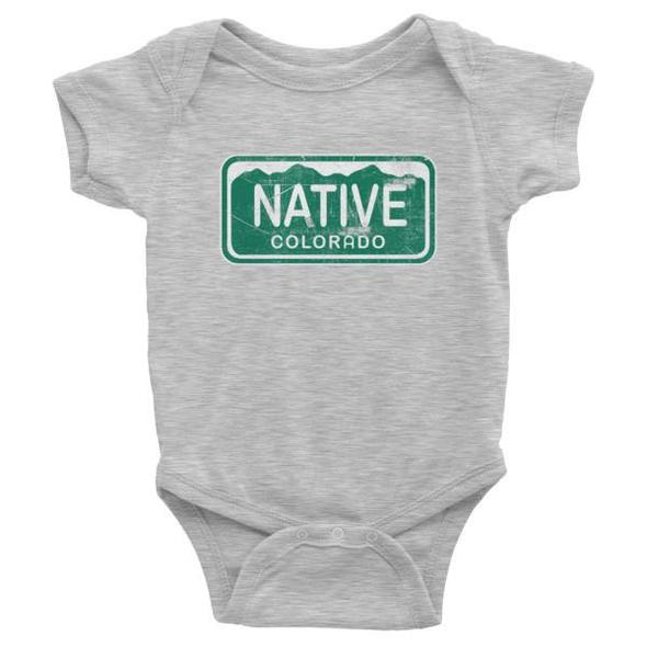 YoColorado Native License Plate Baby Onesie | Grey | Tees | $18