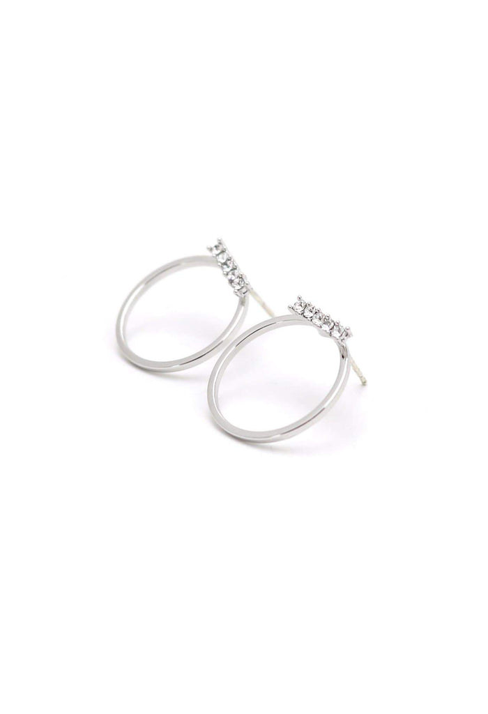 Lover's Tempo Circle Crystal | Silver | Earrings | $44