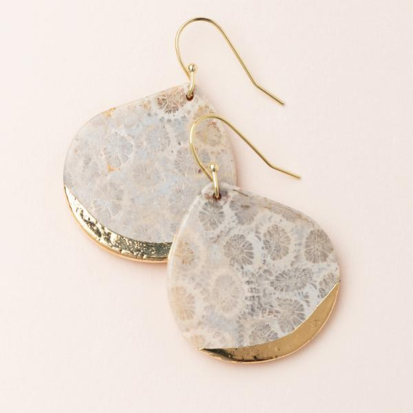 Scout Stone Dipped Teardrop | Fossil Coral/Gold | Earrings | $26