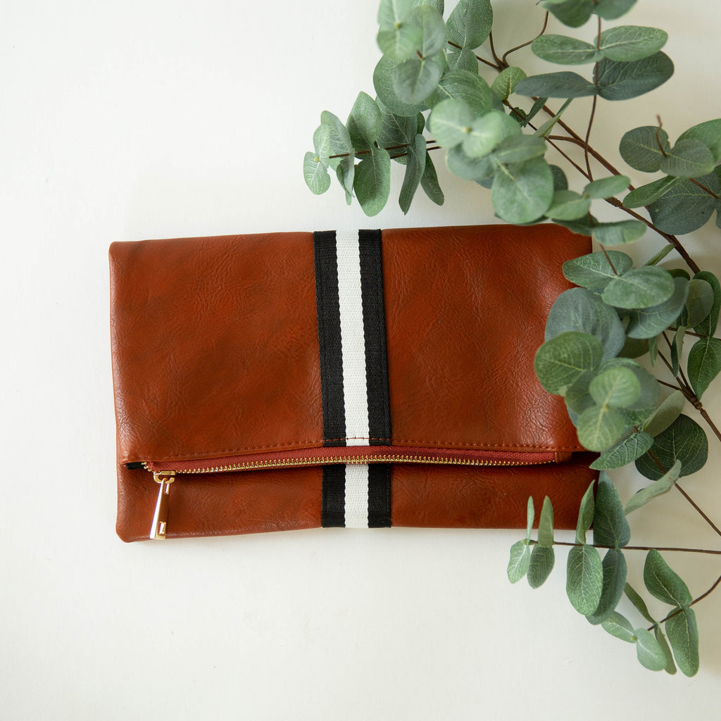 Funky Monkey Foldover | Preppy Stripe Black & White | Clutches | $34