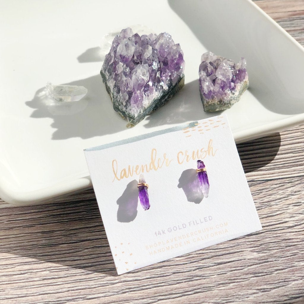 Lavender Crush Alicante Studs | Amethyst | Earrings | $48