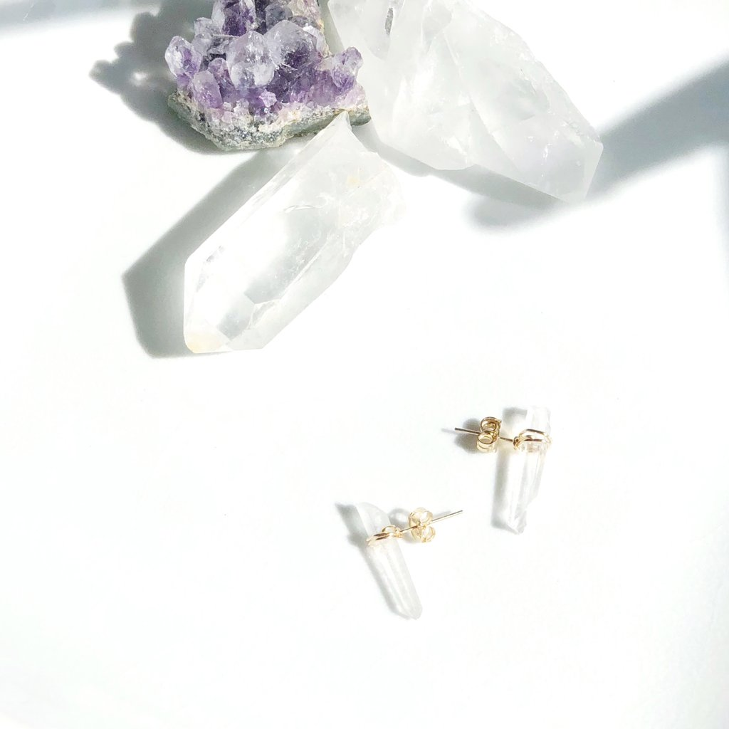 Lavender Crush Alicante Studs | Crystal Quartz | Earrings | $48