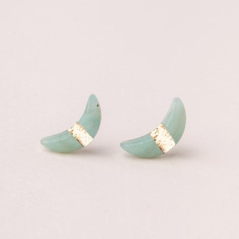 Scout Crescent Moon Stud | Amazonite/Gold | Earrings | $16