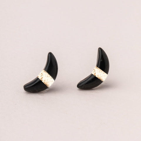 Scout Crescent Moon Stud | Black Spinel/Gold | Earrings | $16