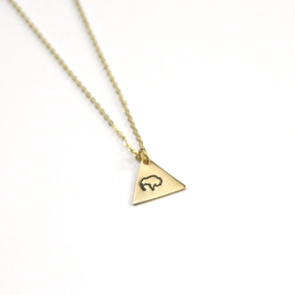 Peachtree Lane Stamped Brass Triangle | Buffalo | Necklaces | $24