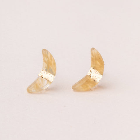 Scout Crescent Moon Stud | Citrine/Gold | Earrings | $16