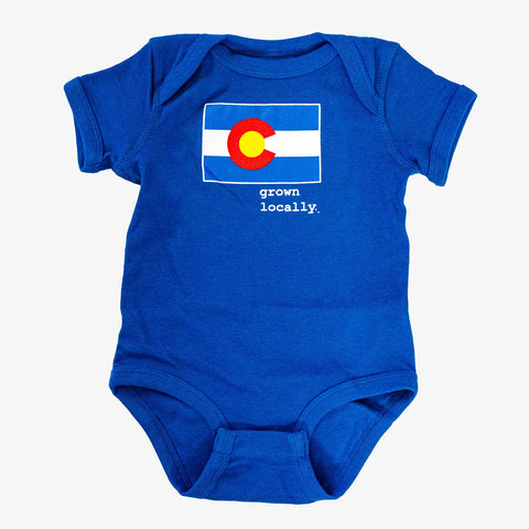 Aksels Baby Grown Locally Colorado Onsie | Royal | Tees | $18