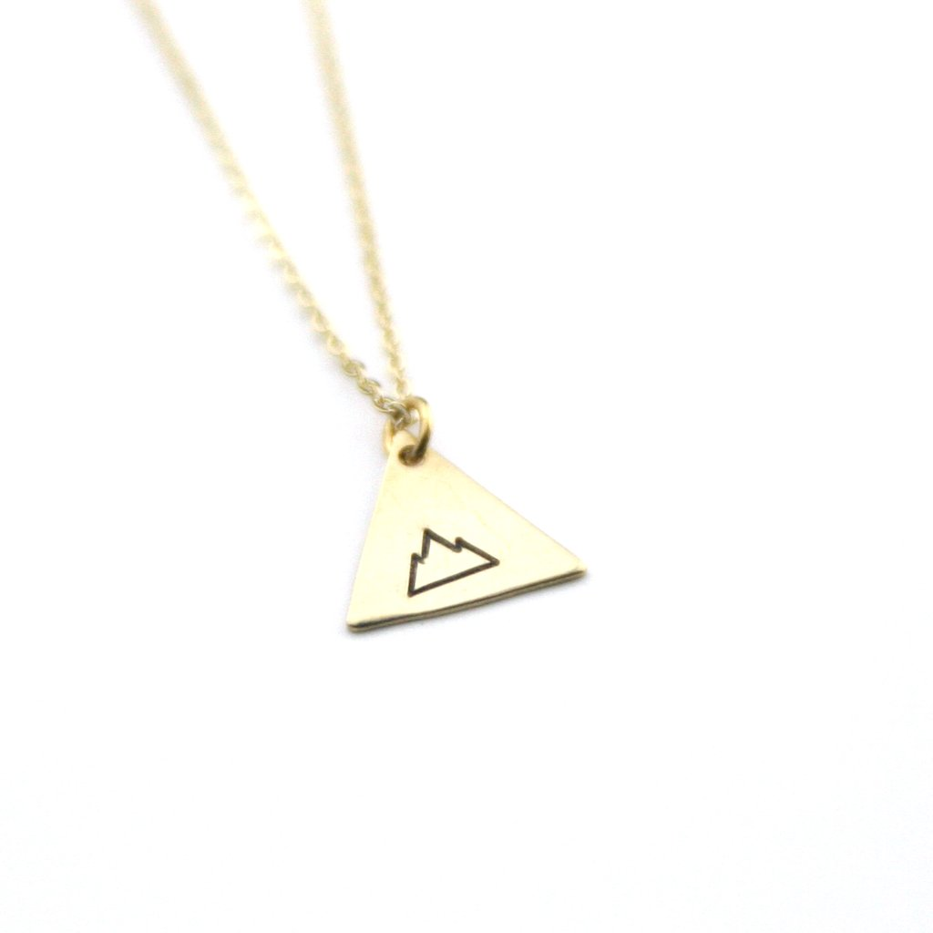 Peachtree Lane Stamped Brass Triangle | Mountain Range | Necklaces | $24