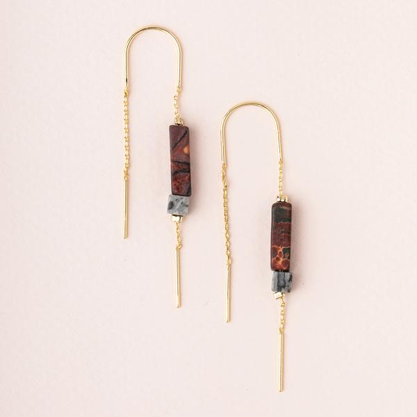 Scout Rectangle Stone Threader | Majestic Jasper/Black/Gold | Earrings | $18