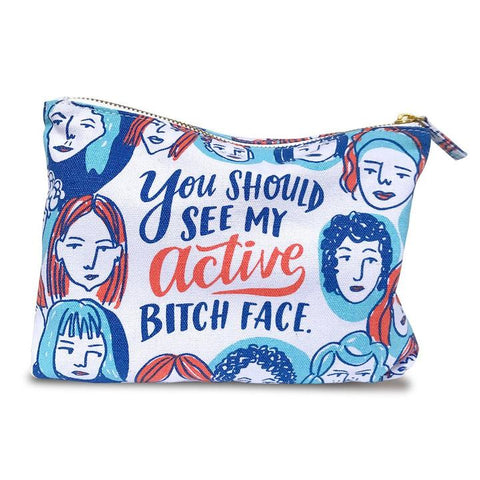 Emily McDowell & Friends Active Bitch Face Pouch | White | Cases | $16.00