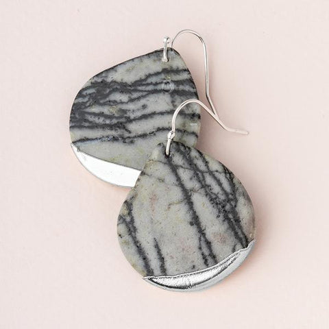 Scout Stone Dipped Teardrop | Picasso Jasper/Silver | Earrings | $26