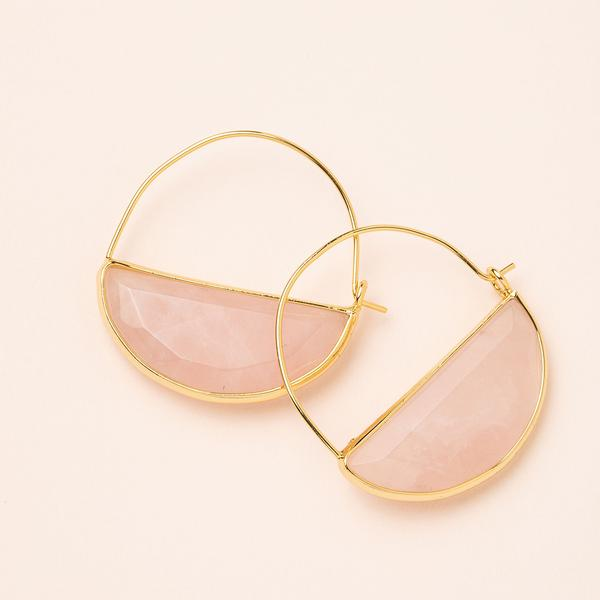 Scout Stone Prism Hoop | Rose Quartz/Gold | Earrings | $20