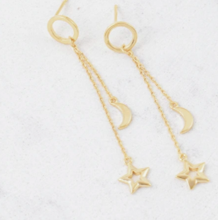 Lover's Tempo Night Sky Drop | Gold | Earrings | $38