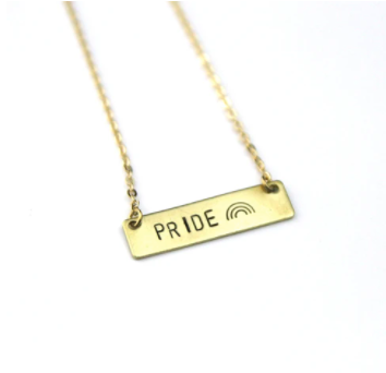 Peachtree Lane Stamped Brass Bar | Pride | Necklaces | $28