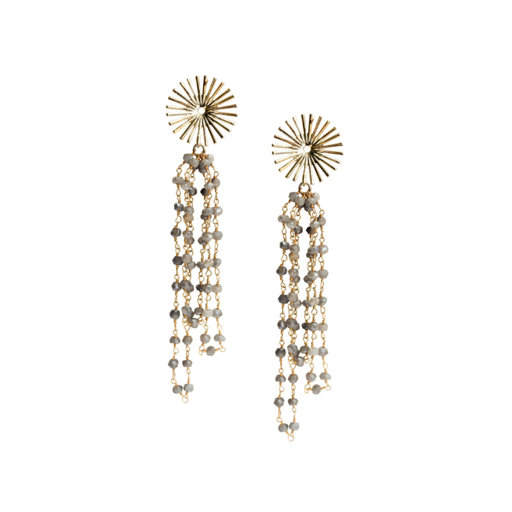 Love, Poppy Starburst Rosary | Gold |  Earrings | $44