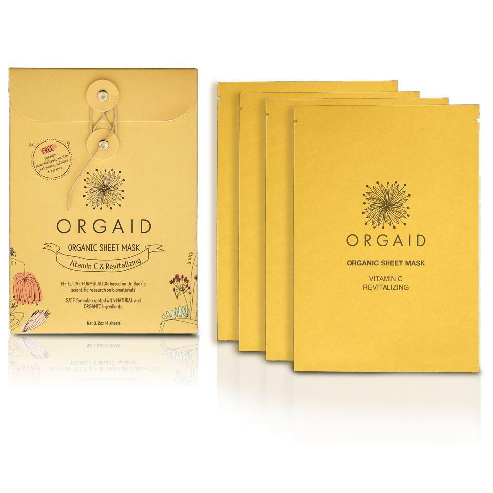 Orgaid Organic 4-Pack Sheet Mask | Vitamin C & Revitalizing | Beauty & Wellness | $22