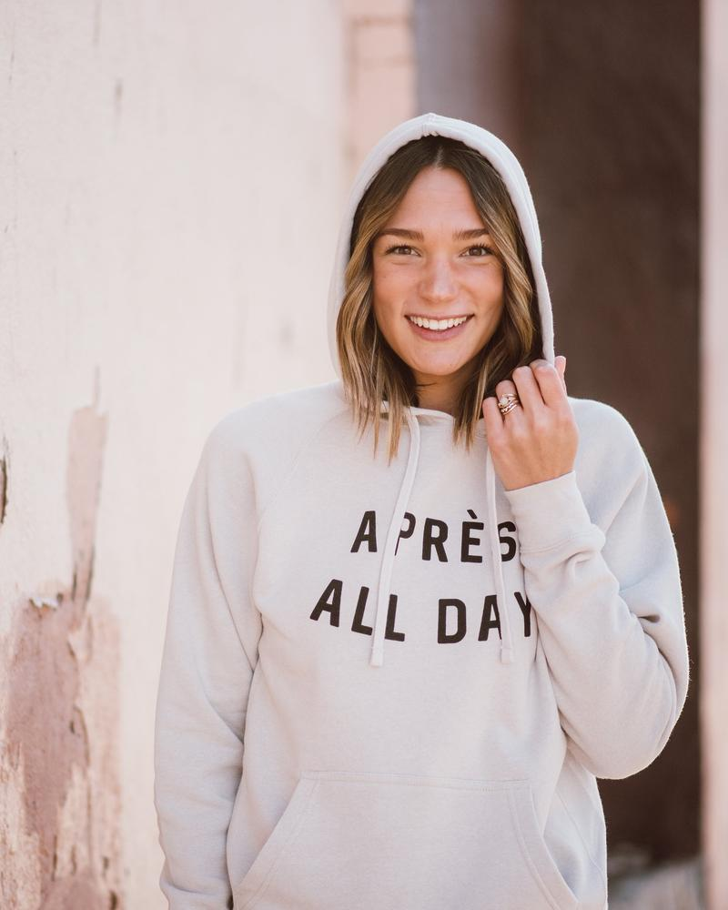 August Ink Apres All Day Unisex Hoodie | Cream | Sweatshirts | $72