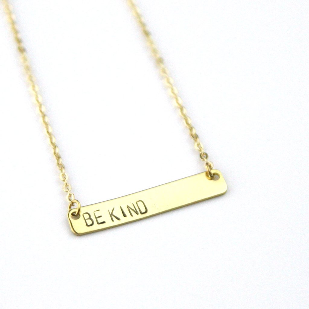 Peachtree Lane Stamped Brass Bar | Be Kind | Necklaces | $28