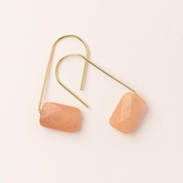 Scout Floating Stone Hoop | Sunstone/Gold | Earrings | $20