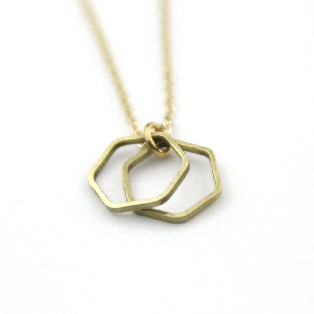 Peachtree Lane Double Hexagon Geometric Layer | Gold | Necklaces | $24