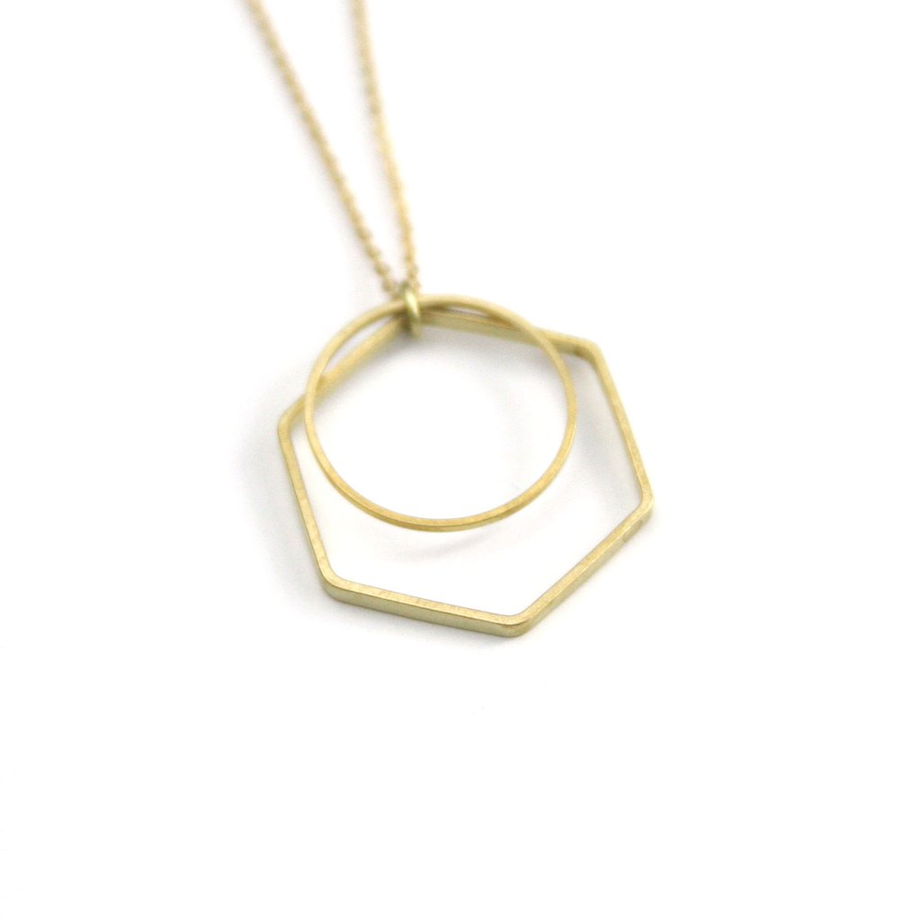 Peachtree Lane Geometric Layer Brass | Hexagon & Circle | Necklaces | $24