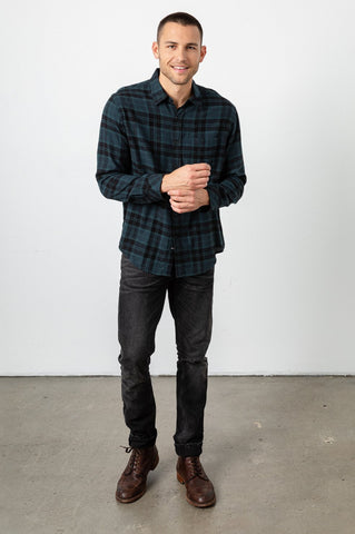 Rails Men's Brushed Lennox Button Down | Emerald Onyx | Shirts | $128
