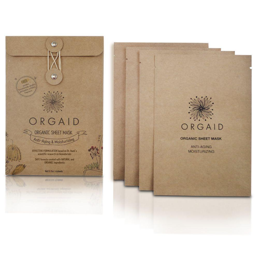 Orgaid Organic 4-Pack Sheet Mask | Anti Aging & Moisturizing | Beauty & Wellness | $22