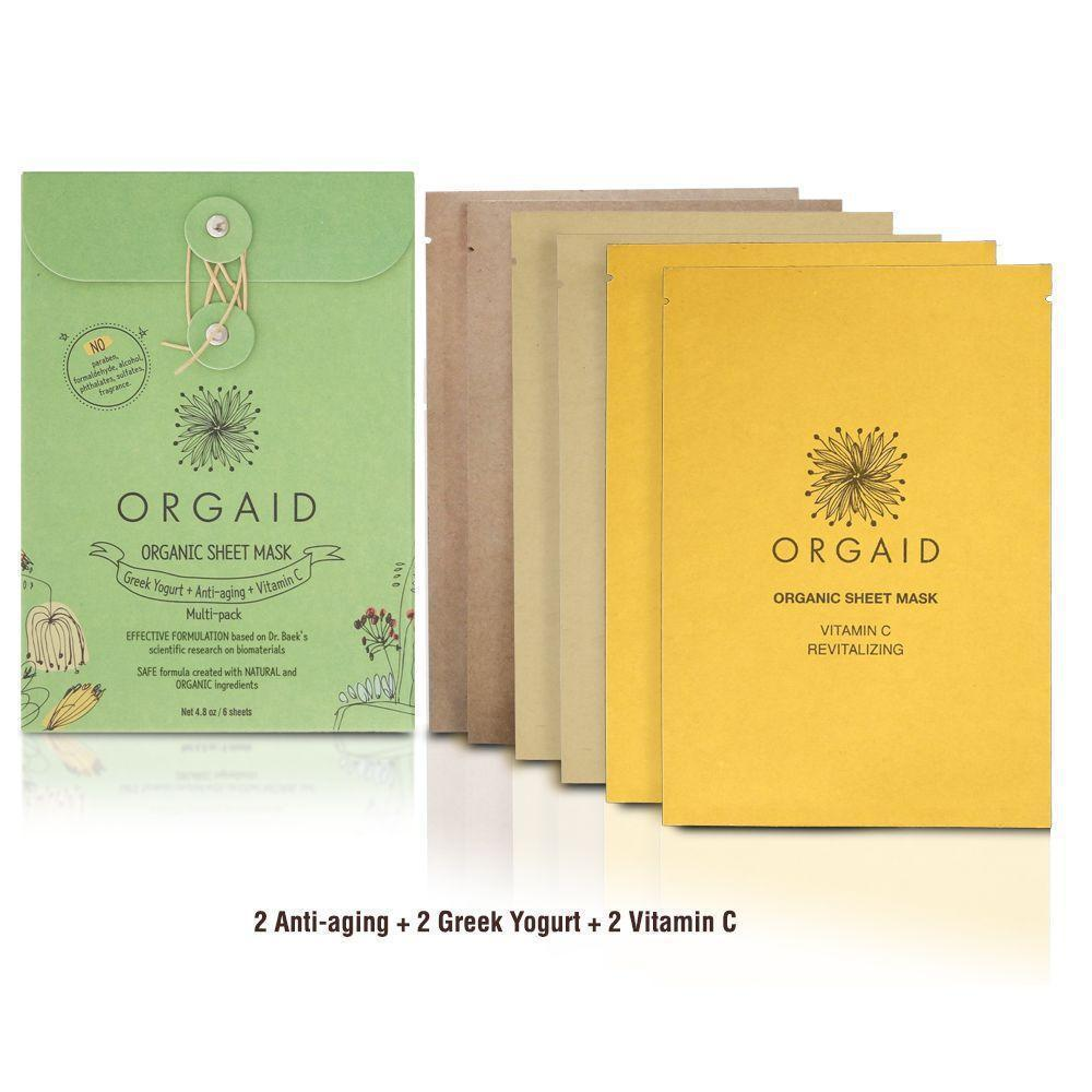 Orgaid Organic 6-Pack Pack Sheet Mask | Multi | Beauty & Wellness | $33