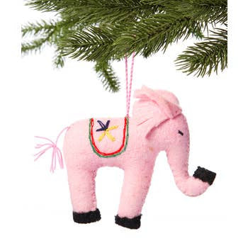 The Silk Road Bazaar Ornament | Pink Elephant | Home & Gifts | $12