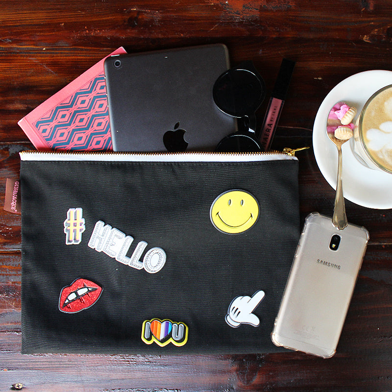 No Sew DIY - Customize a plain black pouch with some fun stickers!