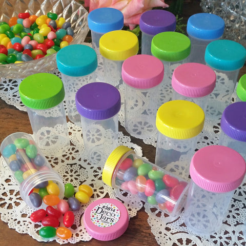 20 Clear Plastic Party Favor Jars w/ Screw-on Multi Color Caps (1 1/2oz) - #3814