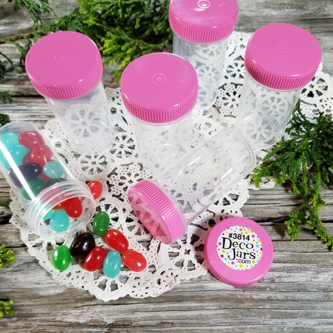 20 Clear Plastic Party Jars w/ Screw-on Opaque Pink Caps (1 1/2oz) - #3814