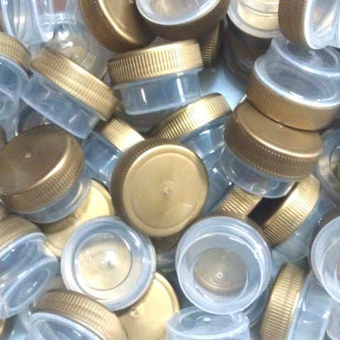 50 Tiny Clear Jars w/ Screw-on Ribbed Gold Caps (1tsp) - #3301
