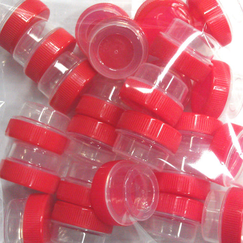 50 Tiny Clear Jars w/ Screw-on Ribbed Red Caps (1tsp) - #3301