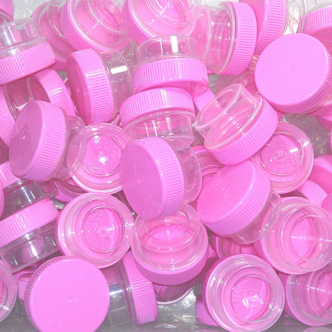 50 Clear Jars w/ Screw-on Opaque Pink Ribbed Caps (1tsp) - #3301