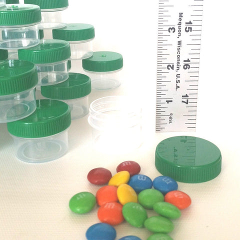 40 Clear Jars w/ Screw-on Opaque Green Caps (1/2oz) - #3803